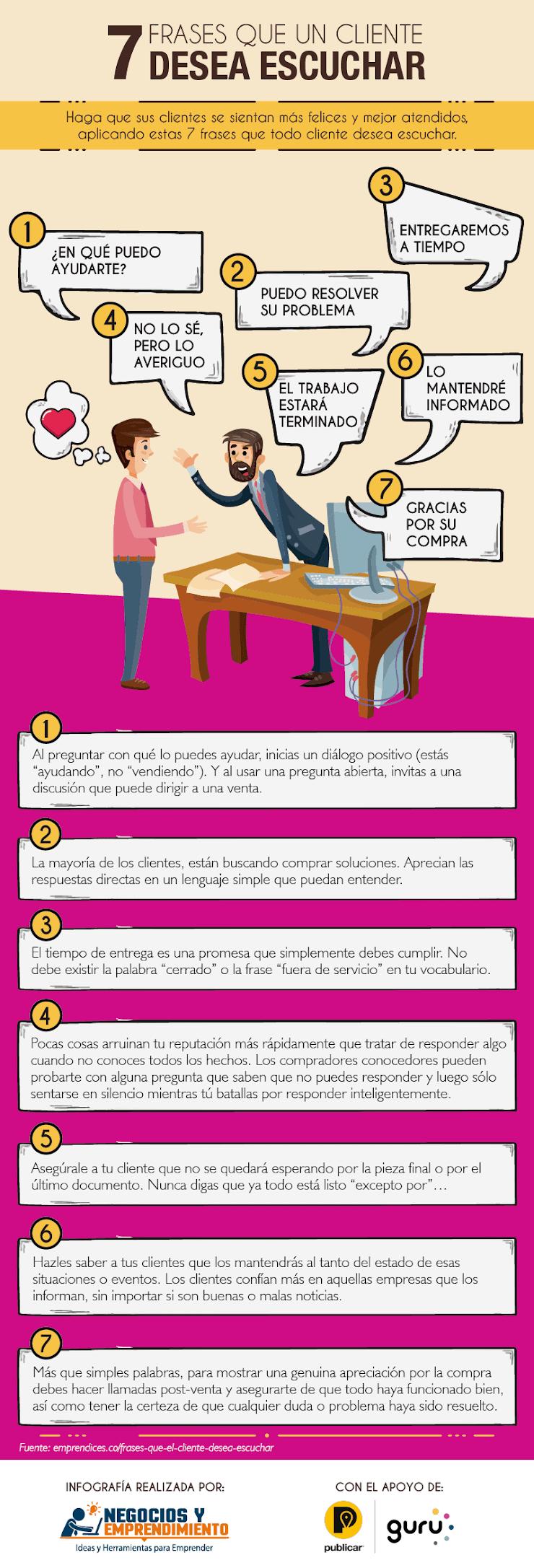 7 Frases que tu cliente desea oír
